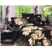 Tmavohnedé bavlnené posteľné prádlo s béžovými kvetmi