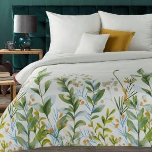 Biele posteľné obliečky bavlnený satén s farebnými vetvičkami