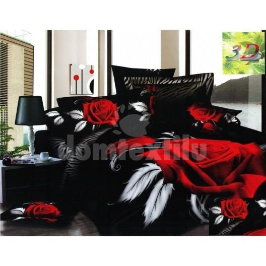 Čierna posteľná bielizeň s motívom červenej ruže