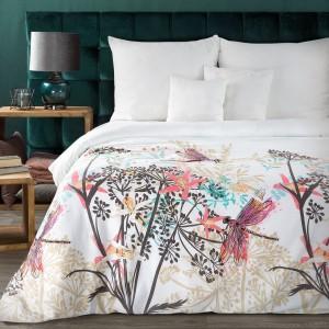 Luxusné biele bavlnené posteľné obliečky s farebnou potlačou