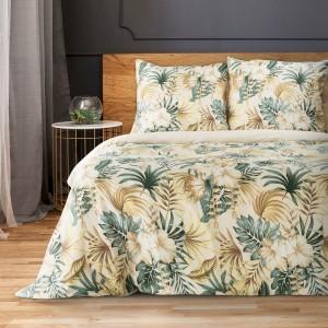 Krásne béžové posteľné obliečky bavlnený satén s motívom kvetov