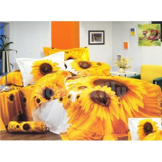 Posteľné návliečky bielo žltej farby s motívom slnečníc