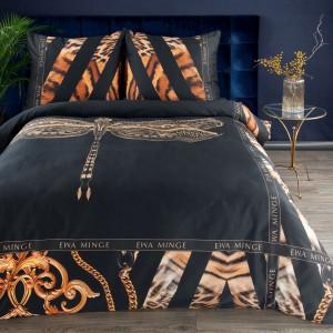 Exkluzívne čierne posteľné obliečky bavlnený satén EVA MINGE