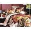 Flanelové posteľné obliečky bielo hnedej farby s kvetmi staroružovej farby