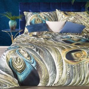 Tyrkysovo béžové luxusné posteľné obliečky pávie pierko