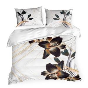 Kvalitné biele posteľné obliečky s výrazným kvetom navrhnuté EVA MINGE E