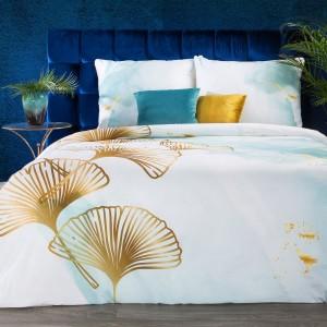 Kvalitné biele posteľné obliečky bavlnený satén so zlatou potlačou ginkgo