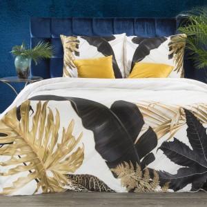 Biele posteľné obliečky bavlnený satén so vzorom listov navrhnuté od EVA MINGE
