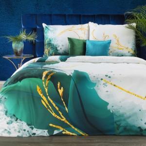 Luxusné bielo zelené obliečky bavlnený satén s abstraktným vzorom