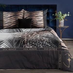 Hodvábne čierne posteľné obliečky so zvieracím motívom navrhnuté EVA MINGE