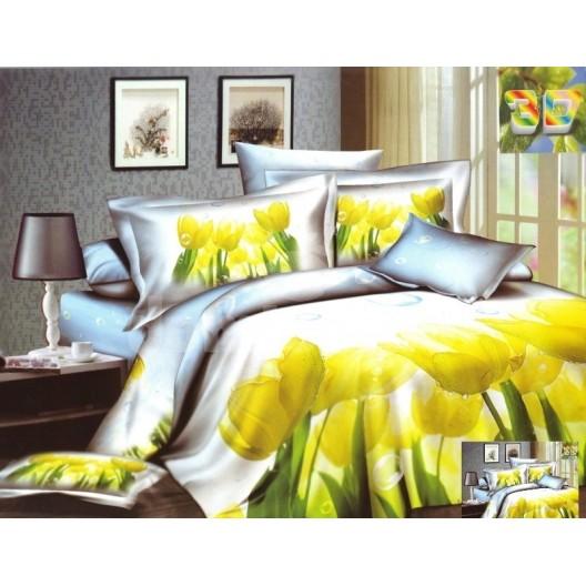 Bielo modré posteľné prádlo so žltými tulipánmi