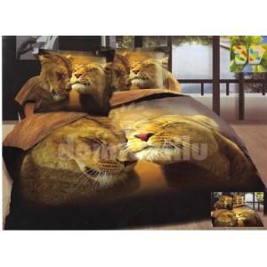 Hnedá súprava posteľných obliečok s motívom levov