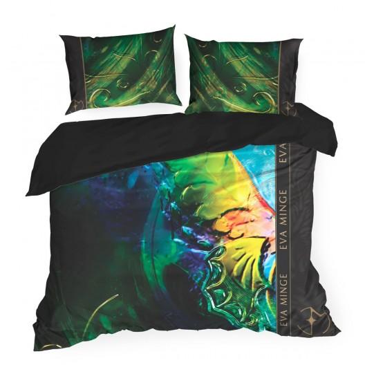 Exkluzívne čierne posteľné obliečky s abstraktným vzorom navrhnuté od EVA MINGE