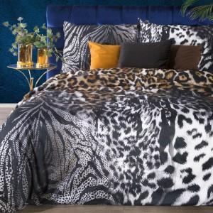 Čierne posteľné obliečky bavlnený satén s výrazným leopardím motívom