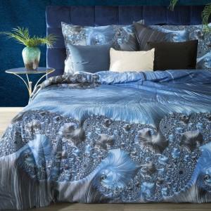 Extravagantné sivo modré posteľné obliečky bavlnený satén