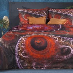 Hodvábne červené posteľné obliečky bavlnený satén s abstraktným vzorom