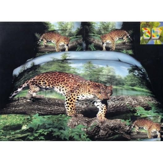 Posteľné obliečky zeleno modrej farby s gepardom