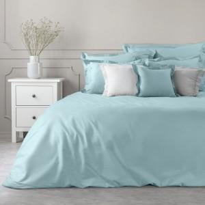 Krásna jednofarebná modrá bavlnená obliečka na prikrývku