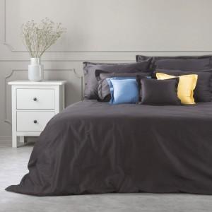 Bavlnené čierne posteľné obliečky so saténovým leskom NOVA COLOR