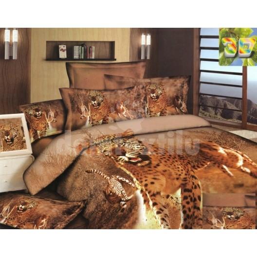 Hnedá posteľná súprava s tigrami