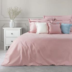 jednofarebné ružové bavlnené posteľné obliečky na paplón