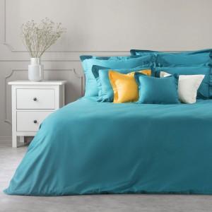 Tyrkysová posteľná obliečka na palón z bavlny so saténovým leskom