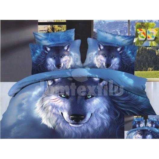 Posteľná súprava obliečok modrej farby s vlkom