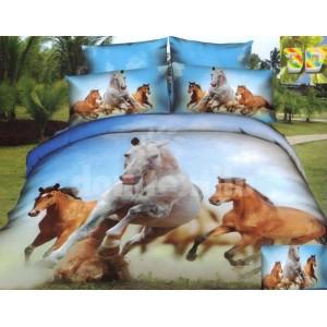 Modrá bavlnená posteľná bielizeň s motívom cválajúcich koní
