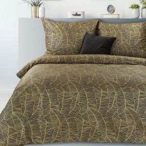 Kvalitné čierne posteľné obliečky so zlatým vzorom babánových listov