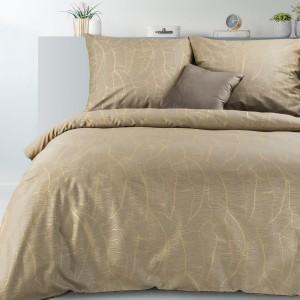 Luxusné béžové bavlnené posteľné obliečky so zlatým motívom listov