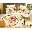 Bielo zlatá posteľná bielizeň s ružovou ružou