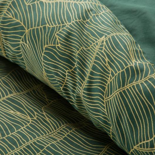 Kvalitné zelené posteľné obliečky bavlnený satén so zlatým vzorom listov