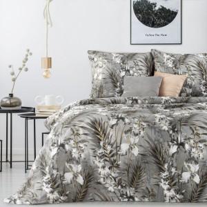 Kvalitné sivé posteľné obliečky bavlnený satén s motívom orchideí