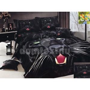 Čierne posteľné bavlnené návliečky s motívom čiernej šelmy