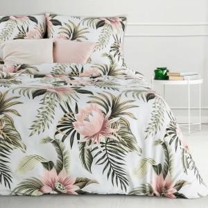 Biele posteľné obliečky bavlnený satén s motívom exotických ruží