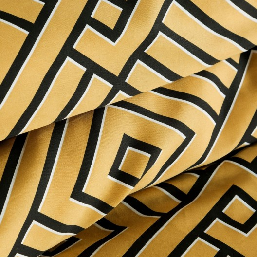 Moderné žlté posteľné obliečky bavlnený satén s geometrickým vzorom