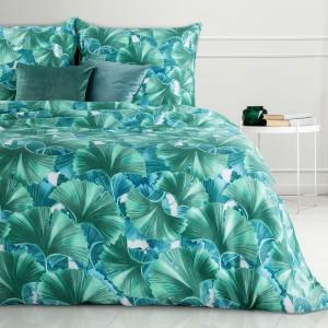 Krásne tyrkysovo zeléné posteľné obliečky z bavlny s motívom listov ginkgo