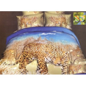 Modro hnedé posteľné obliečky s gepardom