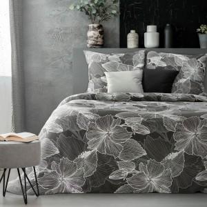 Luxusné čierno biele posteľné obliečky bavlnený satén s bielymi kvetmi
