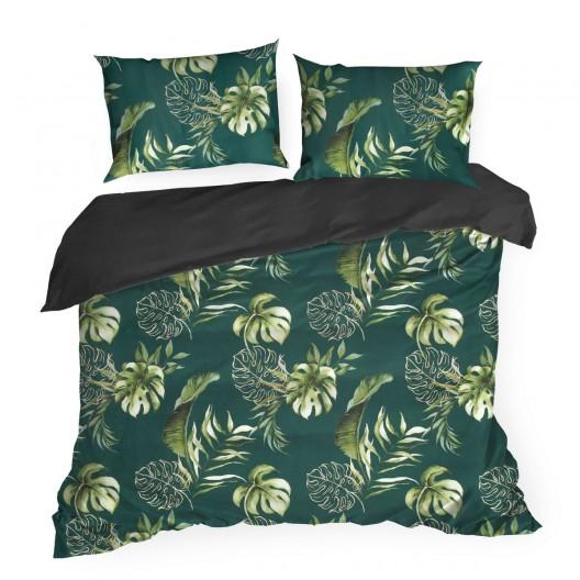 Exotické obojstranné zelené posteľné obliečky bavlnený satén s motívom listov