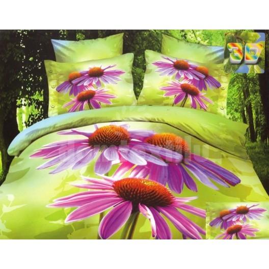 Zelené flanelové posteľné obliečky s motívom fialových kvetov