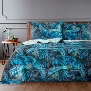 Výrazné obojstranné modré posteľné obliečky bavlnený satén  s motívom listov