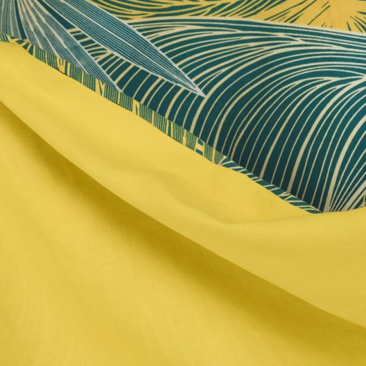 Luxusné zeleno žlté bavlnené posteľné obliečky s motívom výrazných listov