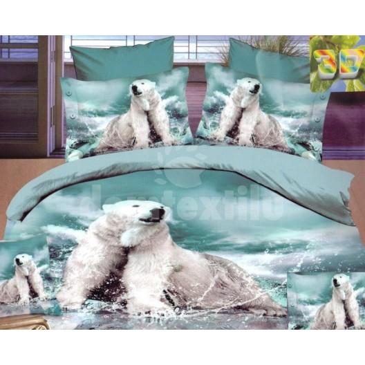 Flanelové posteľné obliečky tyrkysovej farby s ľadovými medveďmi