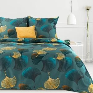 Bavlnené posteľné obliečky v tyrkysovej farbe s motívom farebných listov ginkgo