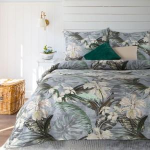 Elegantné sivé posteľné obliečky bavlnený satén s motívom exotiky