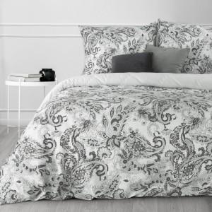 Krásne sivo biele ornamentálne posteľné obliečky bavlnený satén