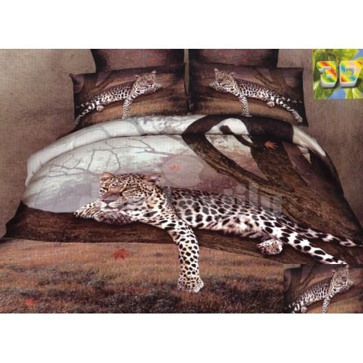 Hnedo biela posteľná súprava posteľných obliečok s motívom geparda