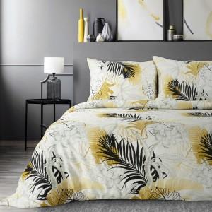 Luxusné bielo žlté posteľné obliečky bavlnený satén