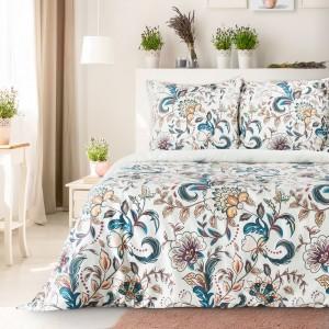 Elegantné bavlnené posteľné obliečky s ornamentálnymi kvetmi